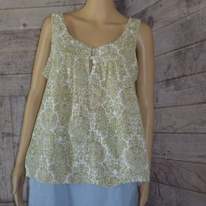 Tops - Green White Paisley Tank Top Women's Size 14/16